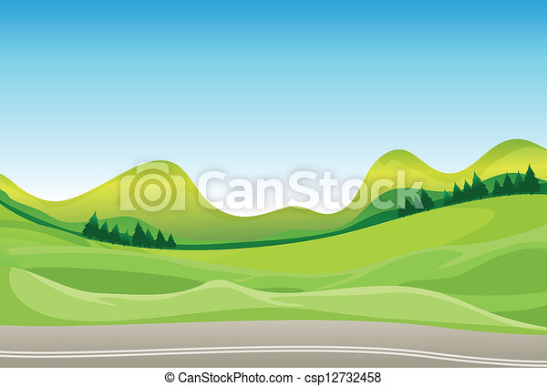 A road and a beautiful landscape - csp12732458