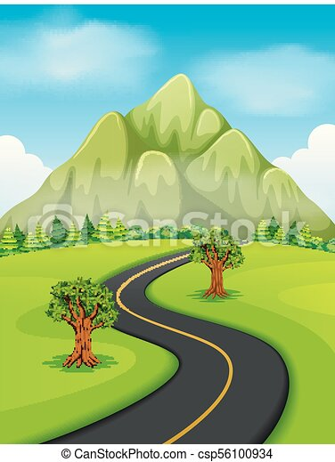 a road going to the mountain - csp56100934