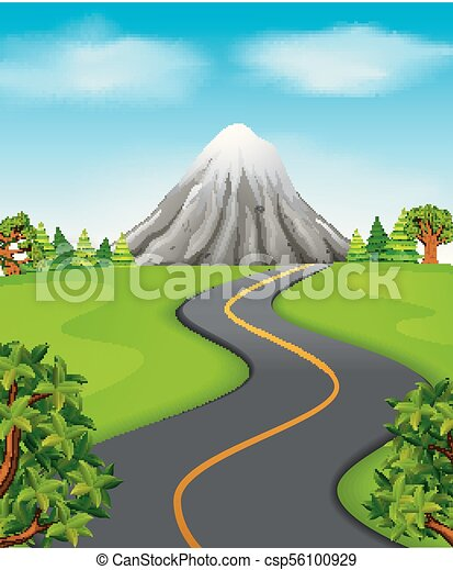 a road going to the mountain - csp56100929