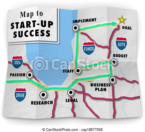 A road map to start-up success offering directions and help in starting your new business or company following a business plan - csp18877058