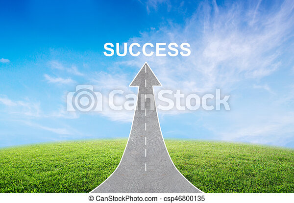 A road turning into an arrow rising upward with a road sign of success, symbolizing the direction to success. - csp46800135