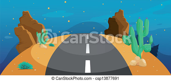 A road with cactus - csp13877691