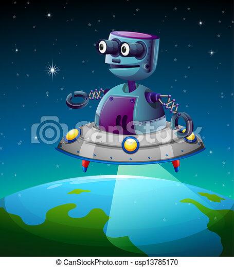 A robot above the earth - csp13785170