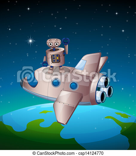 A robot above the spaceship - csp14124770