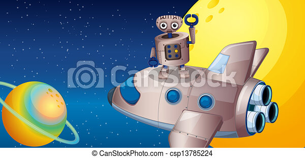 A robot above the spaceship in the outerspace - csp13785224