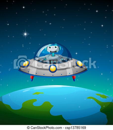 A robot inside the spaceship - csp13785169