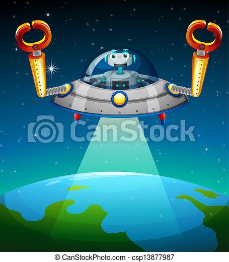 A robot inside the spaceship - csp13877987