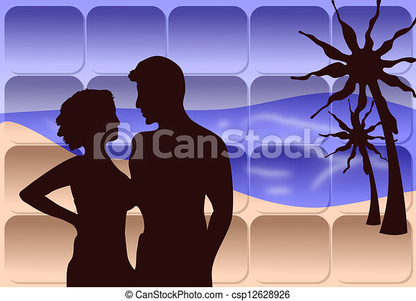 A romantic couple on the beach Drawing | csp12628926