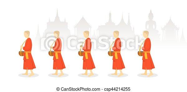 A Row of Buddhist Monks on Alms Round, Thailand Background - csp44214255
