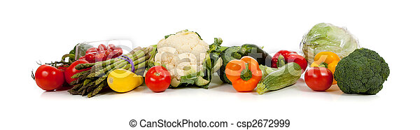 A row of vegetables on white  - csp2672999