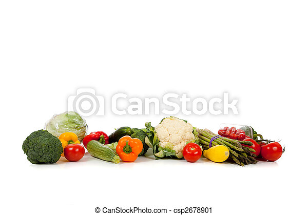 A row of vegetables on white with copy space - csp2678901