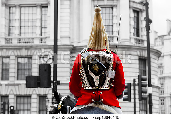 A Royal Horse Guards soldier. Horse guards parade in London, England. - csp18848448
