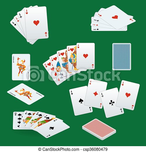 A royal straight flush playing cards poker hand in hearts. Poker cards set. Playing cards set.  - csp36080479