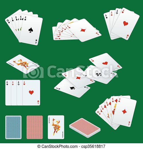 A royal straight flush playing cards poker hand in hearts. Poker cards set. Playing cards set.  - csp35618817
