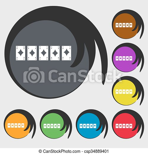 A royal straight flush playing cards poker hand in hearts icon. Symbols on eight colored buttons. Vector - csp34889401
