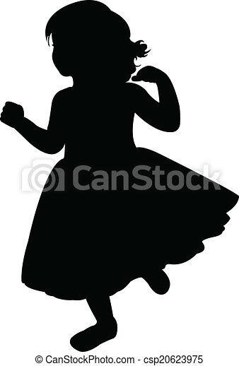 a running girl silhouette vector  - csp20623975