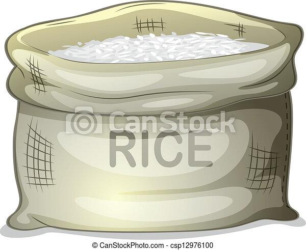 A sack of white rice - csp12976100