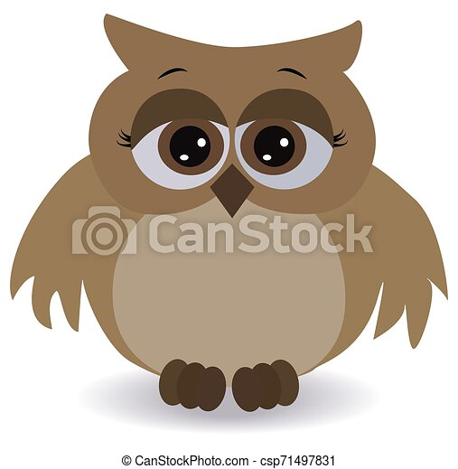 a sad brown owl with surprised eyes and wide-spread wings - csp71497831