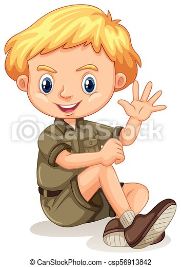 A Safari Boy on White Background - csp56913842