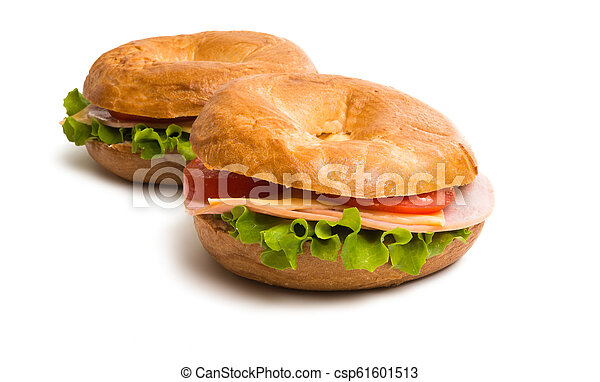 a sandwich with ham isolated - csp61601513