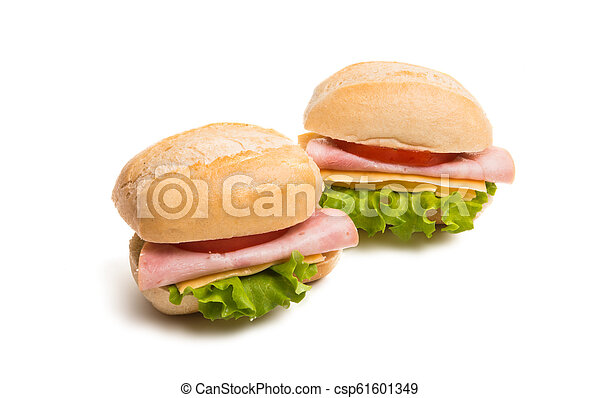 a sandwich with ham isolated - csp61601349