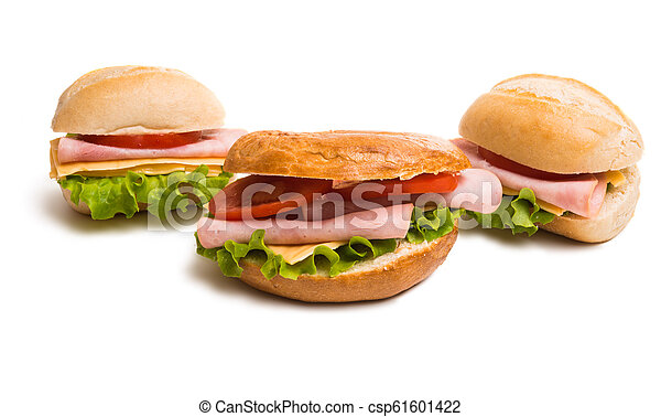 a sandwich with ham isolated - csp61601422