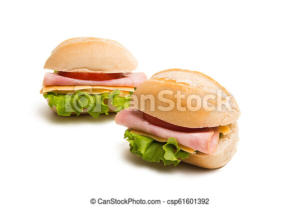 a sandwich with ham isolated - csp61601392