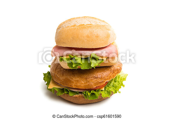 a sandwich with ham isolated - csp61601590