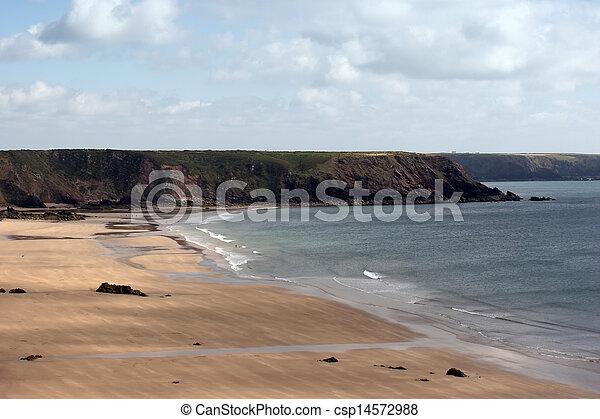 A sandy beach in Cornwall - csp14572988