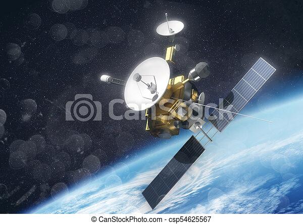 a satellite orbiting earth a satellite probe in space orbiting