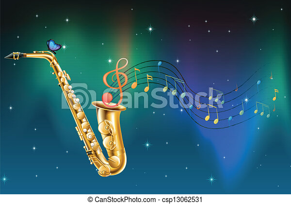 A saxophone with a butterfly and musical notes - csp13062531
