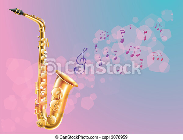 A saxophone with musical notes - csp13078959