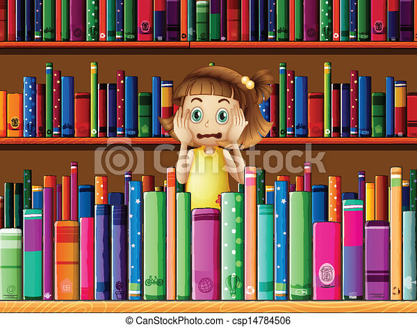 A scared little girl in the library - csp14784506
