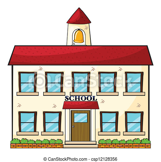 a school building illustration of a school building on a white rh canstockphoto com free clipart school building animated clipart school building