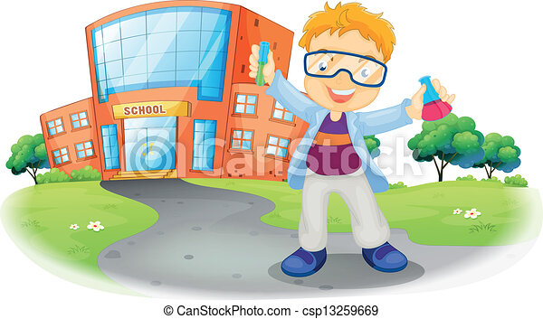 A scientist in front of a school building - csp13259669