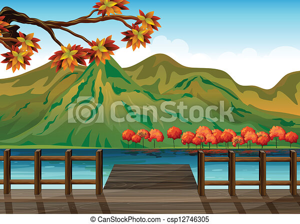 A seaport overlooking the mountains - csp12746305