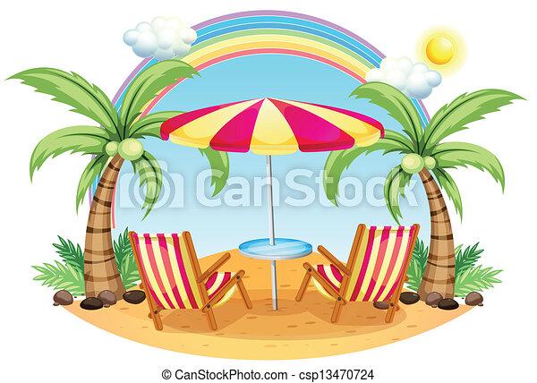 A seashore with a beach umbrella and chairs - csp13470724