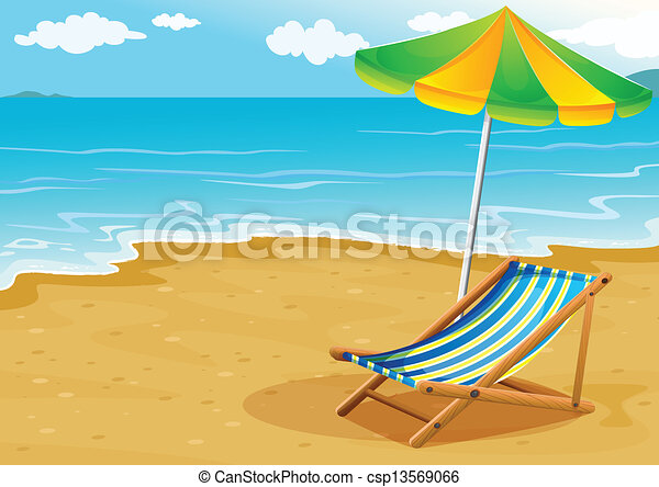 A seashore with a bench and an umbrella - csp13569066