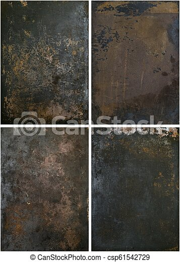 A selection of rusty grunge metal backgrounds - csp61542729