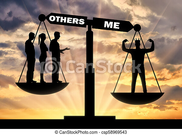 A selfish man with a crown considers himself better than a crowd on the scales of justice. - csp58969543