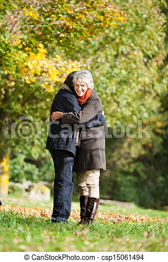 A senior couple embracing each other in love - csp15061494