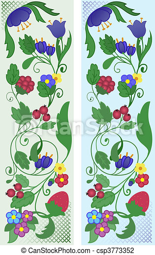 A set of abstract floral ornaments - csp3773352