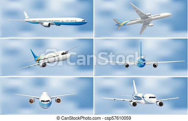 A Set of Airplane on Sky - csp57610059