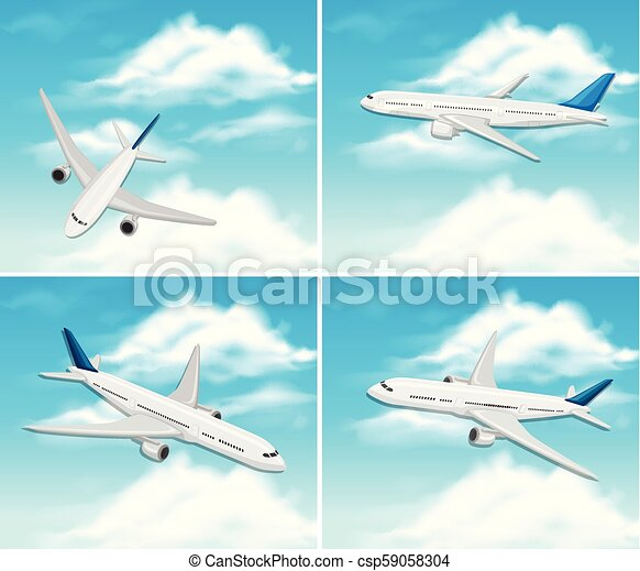A Set of Airplane on Sky - csp59058304