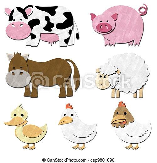 a set of animal farm pastel color - csp9801090
