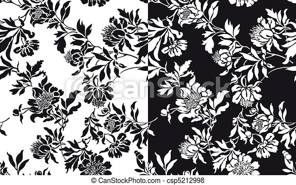 a set of black and white seamless p - csp5212998