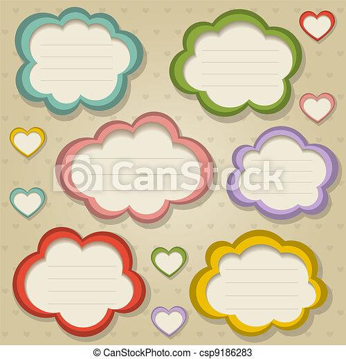 A set of colorful retro frames. Vector illustration. Eps10. - csp9186283