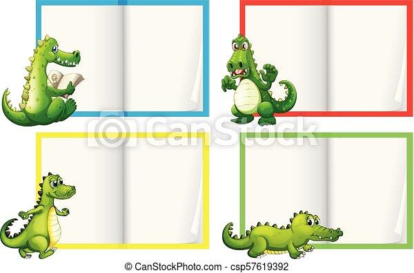 a set of crocodile template illustration