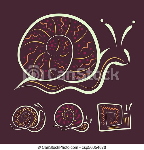 a set of different Abstract snails for your design or company logo. Vector - csp56054878