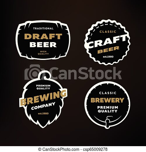 A set of Emblems, logos on the theme of brewing on a dark background. - csp65009278